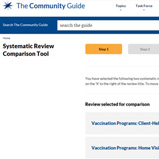 The first step of the Community Guide Comparison Tool