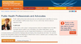 The front page of the public health professionals and advocates website