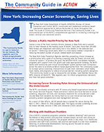 First page of the New York State Cancer in Action Story