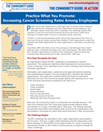 The first page of the Michigan Cancer Screening In Action story
