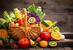 Basket overflowing with colorful fruits and vegetables, represents interventions to prevent and control  diabetes.