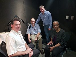 l-r: John Anderton, Chris Kochtitzky, David Hopkins, and Shiriki Kumanyika in the recording studio for the Built Environment audio clip