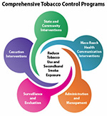 Graphic shows components of comprehensive tobacco control programs: state, community; mass-reach health comm; admin, management; surveillance, evaluation; cessation.