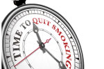 A clock face that reads 'Time to quit smoking'.