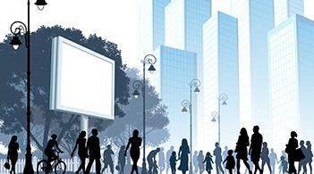 Graphic of city with pedestrians and a blank billboard behind them