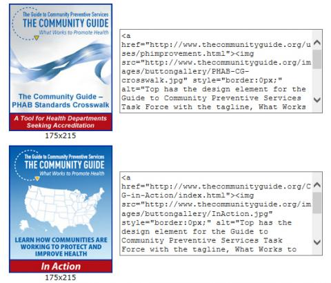 Community Guie button graphics and the associated code used to place them on a web page