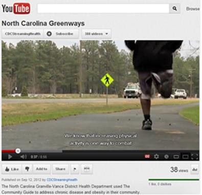 A screen capture of the video about north Carolina walkable communities