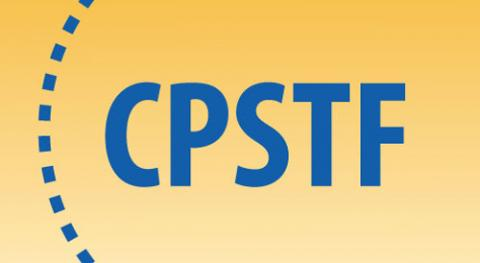 A yellow background with a blue dashed circle. Inside the circle are the letters CPSTF.