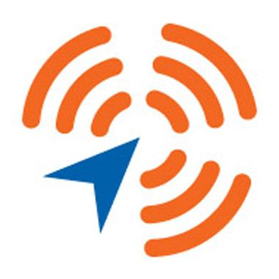A blue arrow points toward the center of three concentric orange circles