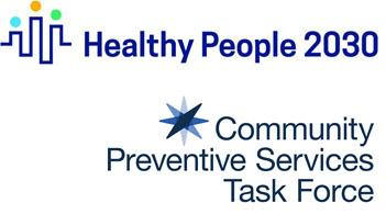 Healthy People 2030 logo and CPSTF logo