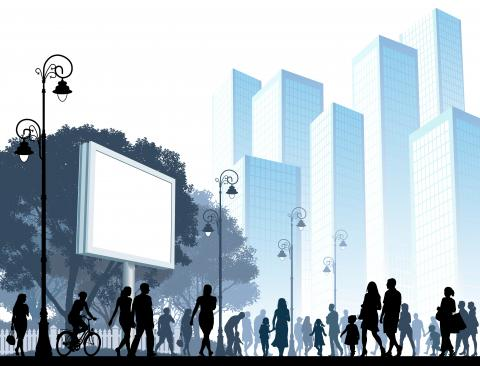 a cityscape scene with people walking past a large billboard