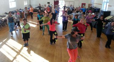 People working out in a gymnasium