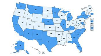 A map of the U.S., with states highlighted to show the locations of Community Guide in Action stories.