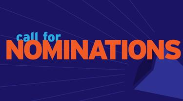 The words Call for Nominations across a blue background.