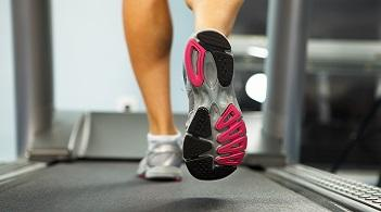 A person runs on a treadmill