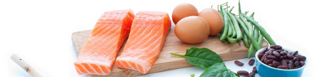 Image of salmon, eggs, and beans to represent  examples of Nutritious Foods